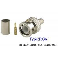BNC Krimpconnector RG6 LET OP! Voor RG6 NIET voor RG59